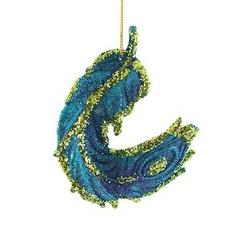Blue, Green &#038; Purple Glittered Peacock Feather Christmas Ornament